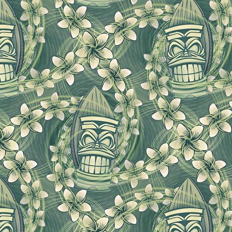 ★ HAWAII TIKI ★ Green - Small Scale / Collection : Hawaiian Trip - Plumeria & Tiki for Aloha Shirt Print fabric by borderlines on Spoonflower - custom fabric