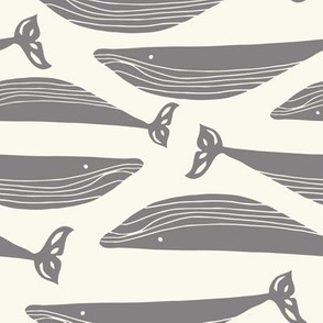 whale pod  in grey / gray