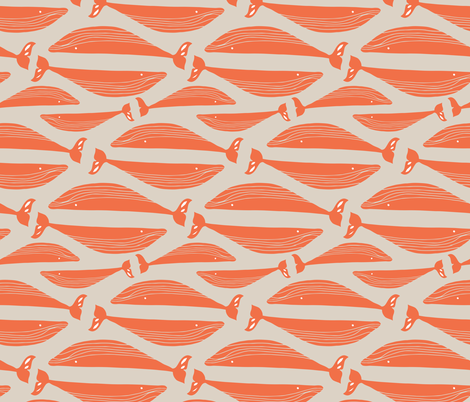 Whales in Orange fabric by gemmacosgroveball on Spoonflower - custom fabric