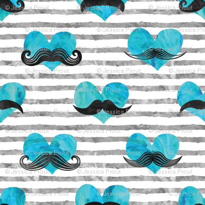 (micro scale) watercolor hearts with  mustaches (blue & grey)