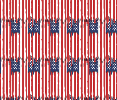 Dripping american flag fabric by b0rwear on Spoonflower - custom fabric