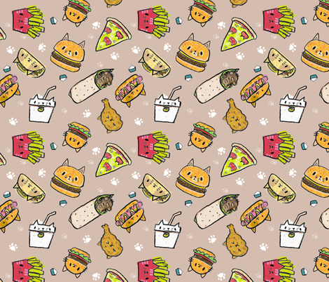 kawaii kitty burgers fabric by dramacatz on Spoonflower - custom fabric