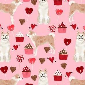 akita valentines cupcakes hearts dog breed love fabric pink