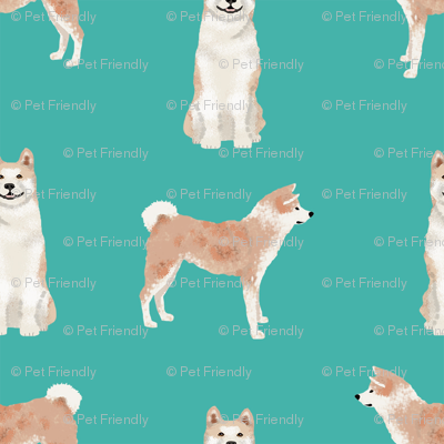 akita dog fabric pet portrait dog breeds turquoise