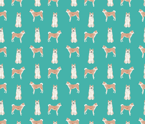 akita dog fabric pet portrait dog breeds turquoise fabric by petfriendly on Spoonflower - custom fabric