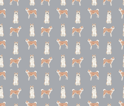akita dog fabric pet portrait dog breeds grey fabric by petfriendly on Spoonflower - custom fabric