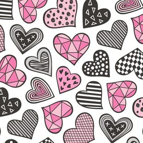 Geometric Patterned Hearts Valentines day Doodle Pink