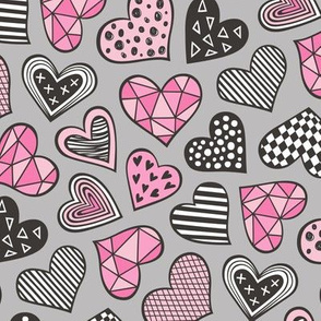 Geometric Patterned Hearts Valentines day Doodle Pink on Grey