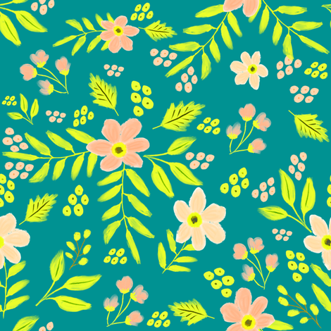 "8"" Adley Bouquet - 80s Neon - Aqua fabric by rebelmod on Spoonflower - custom fabric"