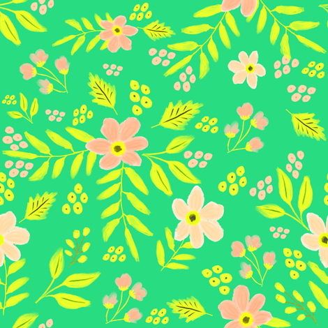"8"" Adley Bouquet - 80s Neon - Bright Aqua fabric by rebelmod on Spoonflower - custom fabric"