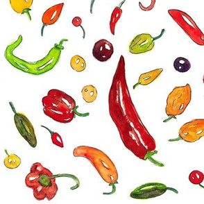 hot peppers watercolor