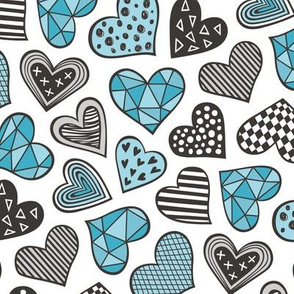 Geometric Patterned Hearts Valentines day Doodle Blue