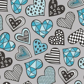 lGeometric Patterned Hearts Valentines day Doodle Blue on Grey