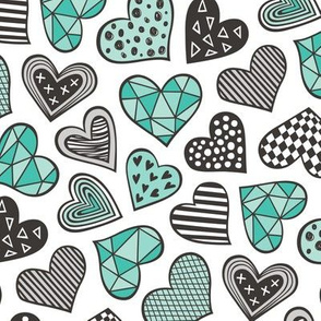 Geometric Patterned Hearts Valentines day Doodle Mint Green
