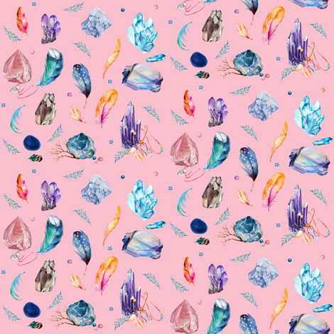 "4"" Gypsy Dreamer - Brighter Pink fabric by rebelmod on Spoonflower - custom fabric"