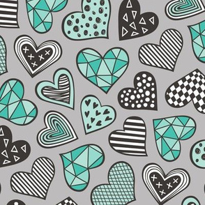 Geometric Patterned Hearts Valentines day Doodle Mint Green on Grey