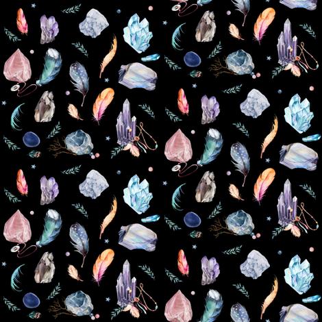 """4"""" Gypsy Dreamer - Black fabric by rebelmod on Spoonflower - custom fabric"""