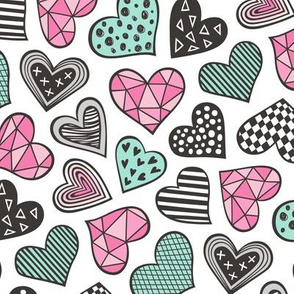 Geometric Patterned Hearts Valentines day Doodle  Pink Mint Green