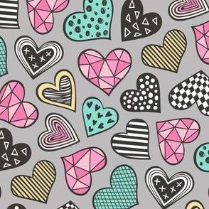 Geometric Patterned Hearts Valentines day Doodle Mint Green Pink Yellow on Grey