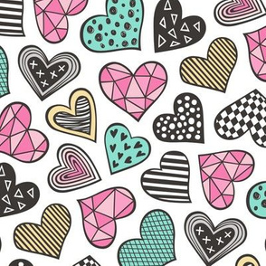 Geometric Patterned Hearts Valentines day Doodle Pink Mint Green Yellow