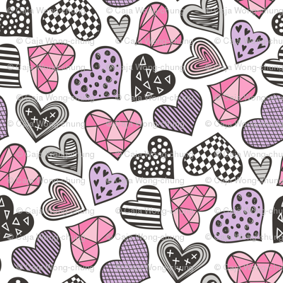 Geometric Patterned Hearts Valentines day Doodle Pink Purple