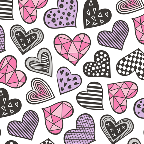 Geometric Patterned Hearts Valentines day Doodle Pink Purple fabric by caja_design on Spoonflower - custom fabric