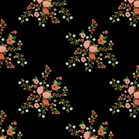 """5.25"""" Sloths Love Pink Florals / BLACK fabric by shopcabin on Spoonflower - custom fabric"""