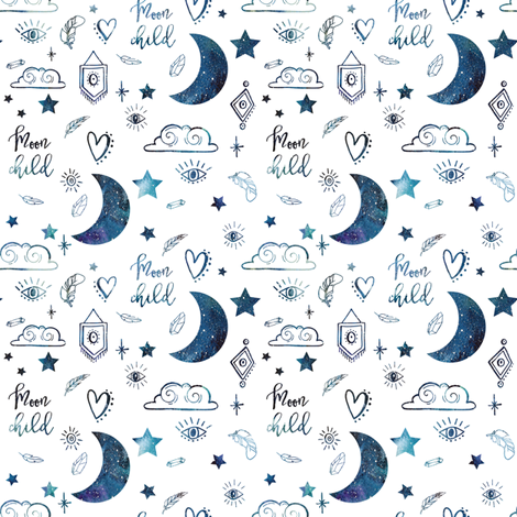 "4"" Moon Child - Space fabric by rebelmod on Spoonflower - custom fabric"