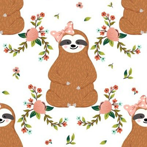 "8"" Sloths Love Pink Bows & Florals"