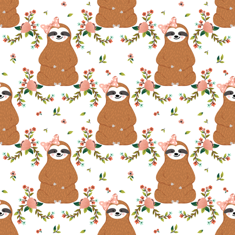 "4"" Sloths Love Pink Bows & Florals fabric by shopcabin on Spoonflower - custom fabric"