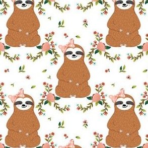 "4"" Sloths Love Pink Bows & Florals"