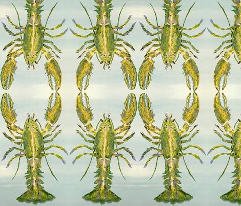 Heathers Green Lobster_Hug fabric by erica_lindberg_designs on Spoonflower - custom fabric
