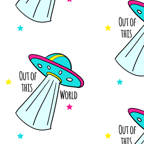 """6"""" Out Of This World Spaceship fabric by rebelmod on Spoonflower - custom fabric"""