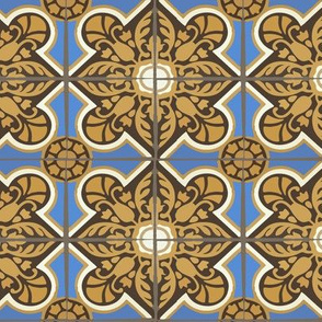 Large Geometric Home Decor Spanish Tile || Blue Brown Yellow Gold Cream Gray Grey _  Miss Chiff Designs