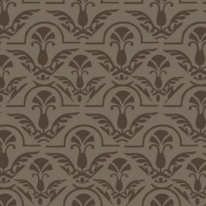 Taupe Brown Damask || Wings