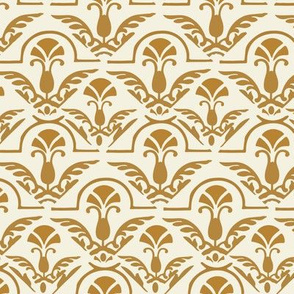 Autumn Yellow Gold Damask on Cream || Home Decor