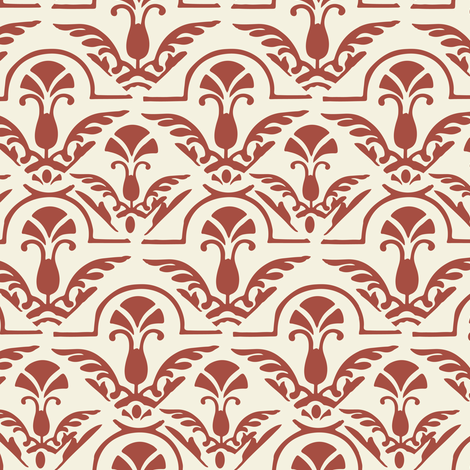 17-06G Autumn Burnt Red Orange and cream Damask Large Scale Home Decor fabric by misschiffdesigns on Spoonflower - custom fabric