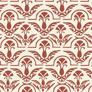 Burnt Red Orange and cream Damask Large Scale Home Decor