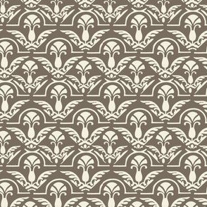 17-06F Taupe Cream Damask || Home Decor