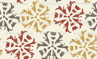17-06E Autumn Abstract Floral Home Decor || Large Scale wall paper sienna Gold Gray Maroon Red on Cream  _ Miss Chiff Designs