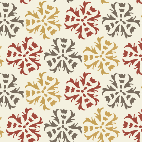 17-06E Autumn Abstract Floral Home Decor || Large Scale wall paper sienna Gold Gray Maroon Red on Cream  _ Miss Chiff Designs  fabric by misschiffdesigns on Spoonflower - custom fabric