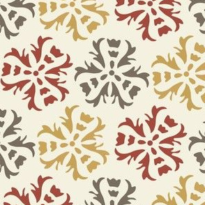 Abstract Floral Home Decor || Large Scale wall paper sienna Gold Gray Maroon Red on Cream  _ Miss Chiff Designs
