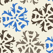 Abstract floral Blue Gray Brown || Home Decor Wall paper large scale cream  _ Miss Chiff Designs