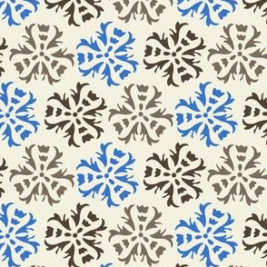 17-06D Abstract floral Blue Gray Brown || Home Decor Wall paper large scale cream  _ Miss Chiff Designs