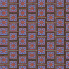 Abstract Tile Red Blue Brown Gray Small || Boy Square