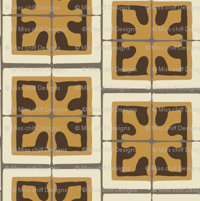 17-06BAutumn Brown Small Abstract chocolate mustard yellow gold cream gray grey small geometric square Spanish tile beige _ Miss Chiff Designs