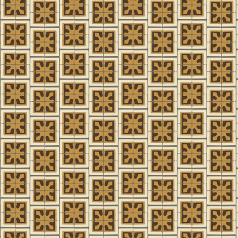 17-06BAutumn Brown Small Abstract chocolate mustard yellow gold cream gray grey small geometric square Spanish tile beige _ Miss Chiff Designs  fabric by misschiffdesigns on Spoonflower - custom fabric