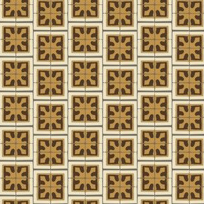 Abstract Chocolate  Brown Gold Cream Beige Gray Small Square Tile ||  Miss Chiff Designs