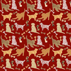 vintage labrador play on red