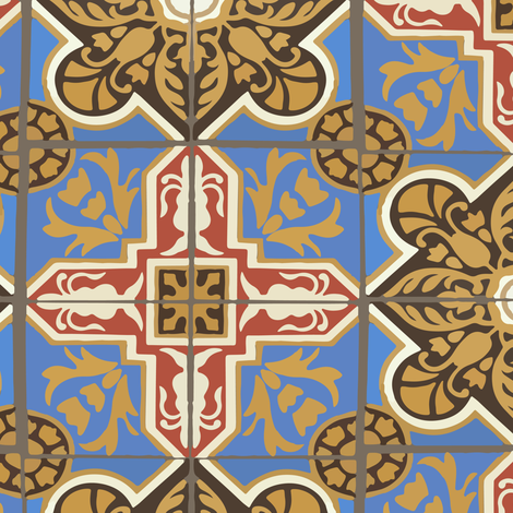 17-06A Jumbo Brown Blue Red Cream Gold Ceramic Tile || Home Decor  fabric by misschiffdesigns on Spoonflower - custom fabric
